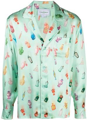 Casablanca Printed Silk Pyjama Top