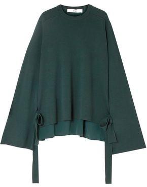 Tibi Silk Crepe De Chine-paneled Merino Wool Sweater