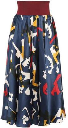 Roksanda Printed Stretch Knit-paneled Silk-satin Midi Skirt