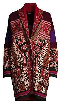 Etro Women's Nomad Animal Intarsia Knit Coat
