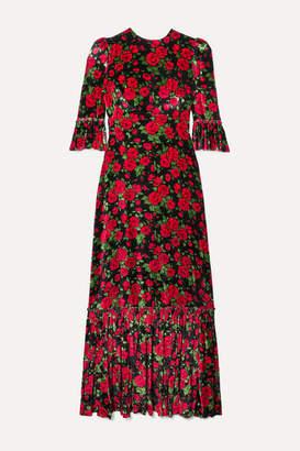 The Vampire's Wife Festival Ruffled Tiered Floral-print Velvet Maxi Dress - UK8