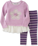 Kids Headquarters 2-Pc. Layered-Look Flower Tunic & Leggings Set, Baby Girls (0-24 months)