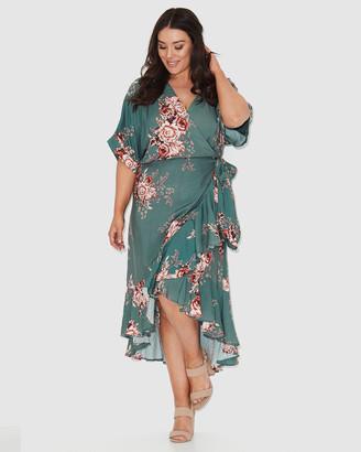 17 Sundays Forest Rose Print Wrap Dress