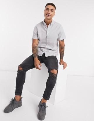Burton Menswear short sleeve fine dot oxford shirt in grey