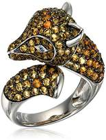 Sterling Silver Citrine and Swiss Blue Topaz Fox Ring, Size 7
