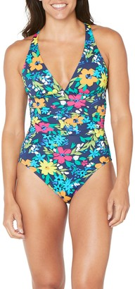 Nautica Ruched Floral One-Piece Swimsuit