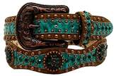 Ariat A1522028-S 1.5 in. Womens Scallop Floral Embossed Concho Belt, Green - Small