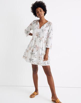 Madewell x Warm Tie-Neck Mini Dress in Honolulu Hibiscus