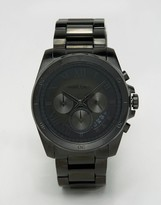 Michael Kors Brecken Chronograph Black Watch In Stainless Steel Mk8482
