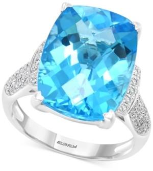 Effy Blue Topaz (11-7/8 ct. t.w.) & Diamond (1/4 ct. t.w.) Ring in 14k White Gold
