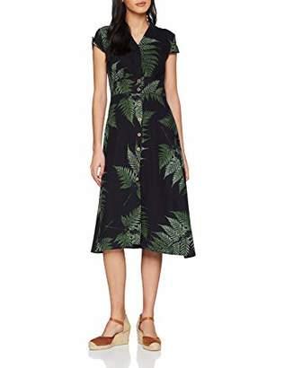 Joe Browns Women's Perfect Palm Linen Mix Dress Black/Green A, 8 (Size:8)