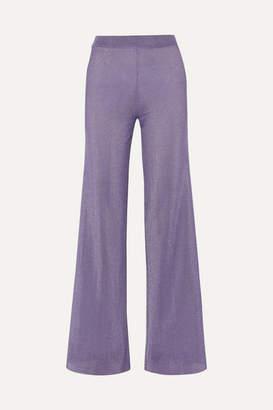 Missoni Metallic Ribbed-knit Wide-leg Pants - Lilac