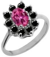 Gem Stone King 1.18 Ct Oval Pink Tourmaline Black Diamond Sterling Silver Ring