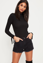 Missguided Black Tie Cuff Detail Ribbed Bodysuit