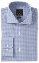 David Donahue Blue Check Trim Fit Dress Shirt