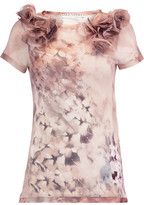 Valentino Appliquéd Printed Stretch-Jersey T-Shirt