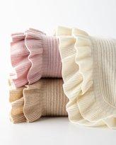 Sofia Cashmere Rib-Knit Ruffle Throw Blanket