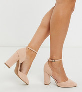Asos Design DESIGN Wide Fit Pleasant high block heels in taupe