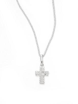 Effy Diamond & 14K White Gold Small Cross Pendant Necklace