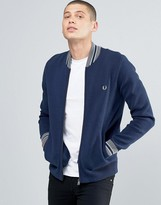 Fred Perry Cardigan With Bomber Neck In Dark Carbon