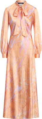 Ralph Lauren Silk Tie-Neck Dress