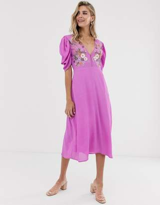 Cleobella amber embroidered maxi dress-Purple