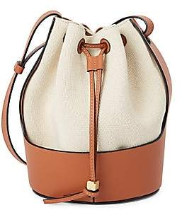 Loewe Women's Small Balloon Leather-Trimmed Canvas Bucket Bag