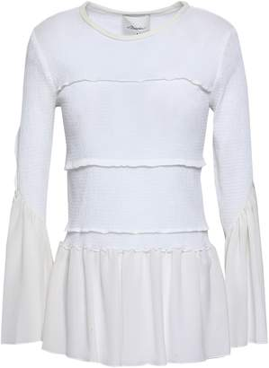 3.1 Phillip Lim Shirred Stretch-cotton And Silk Crepe De Chine Top