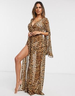 Asos Design DESIGN fuller bust glam frill split beach maxi kimono in animal leopard print-Multi