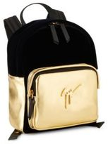 Giuseppe Junior Logo Leather and Velvet Backpack