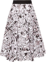 Milly Surrealist fil coupé cotton-blend midi skirt