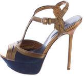 Sergio Rossi Metallic-Trimmed Platform Sandals