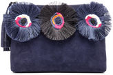 Loeffler Randall Women's Floral Embroidered Tassel Pouch Suede Clutch Bag Eclipse Multi