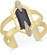 INC International Concepts Gold-Tone Black Crystal Cuff Bracelet, Oly at Macy's