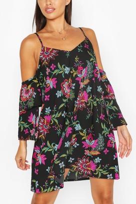 boohoo Floral Strappy Cold Shoulder Smock Dress