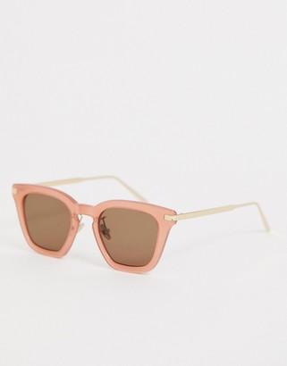 Asos square sunglasses in pink acetate
