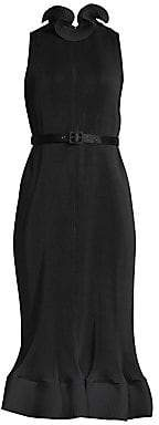 Tibi Women's Pleated Sleeveless Flounce Sheath Dress