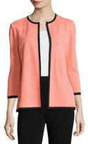 Misook 3/4-Sleeve Textured Open Jacket, Tart/Black, Plus Size