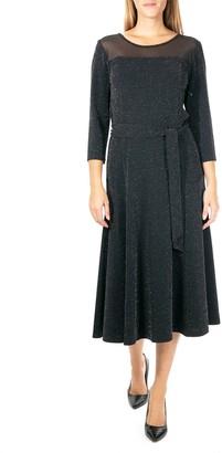 Nina Leonard Women's Metallic Sheer-Yoke Midi Dress