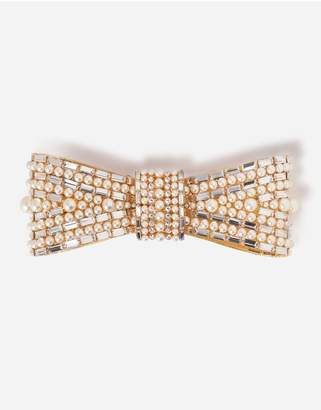Dolce & Gabbana Bow Brooch With Crystal Decorations
