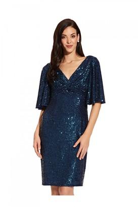 Adrianna Papell Sequin Midi Dress In Twilight