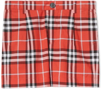 BURBERRY KIDS Check Cotton Tailored Shorts