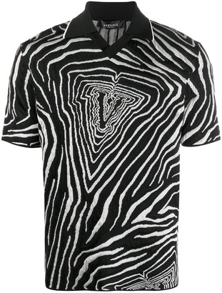 Versace V graphic print polo shirt
