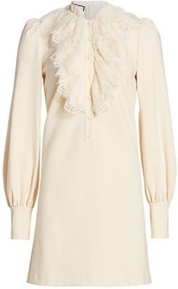 Gucci Lace Ruffle Compact Jersey Shirtdress