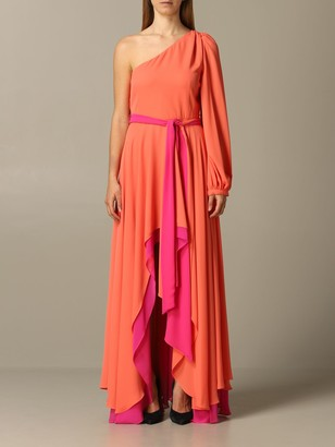 Hanita Long One-shoulder Dress In Georgette Doubled With Belt