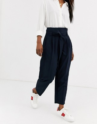 Asos Design DESIGN tailored tie waist tapered ankle grazer trousers-Navy