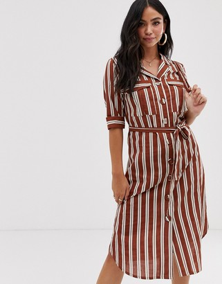 Influence shirt dress with tie waist in stripe-Brown