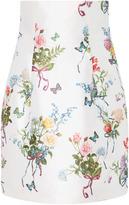 Monique Lhuillier Printed Mikado High Waisted Skirt