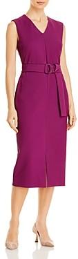 HUGO BOSS Dadorina Belted Jersey Interlock Dress