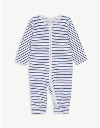 The Little White Company Stripe print cotton velour sleepsuit 0-24 months